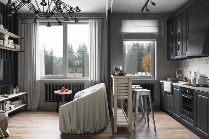 Кухня в серых тонах.