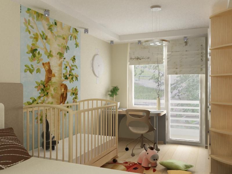 спальня и детская в одной комнате дизайн фото