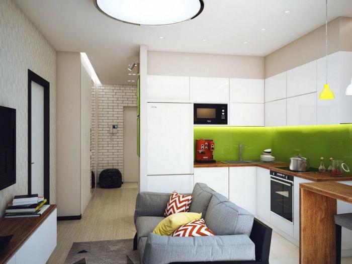 Кухня-гостиная с диваном.