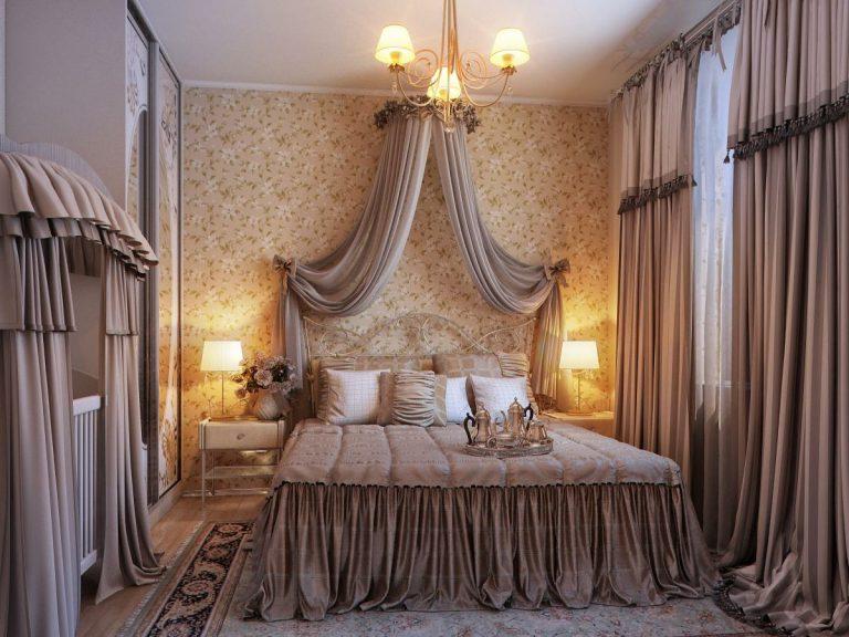 балдахины во взрослой спальне с кроваткой