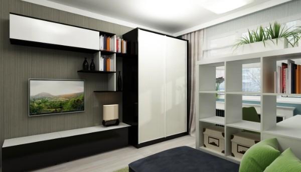 стенка со шкафом купе в гостиную