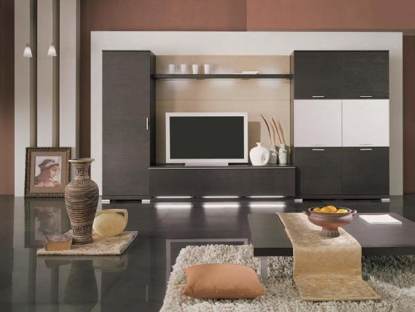 тёмно-серый шкаф купе в гостиную