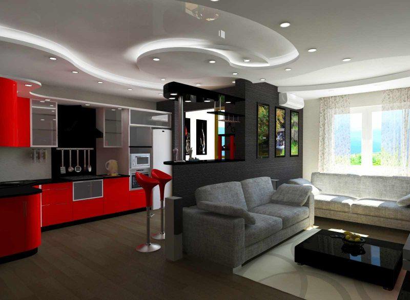 идея необычного стиля кухни гостиной 16 кв.м