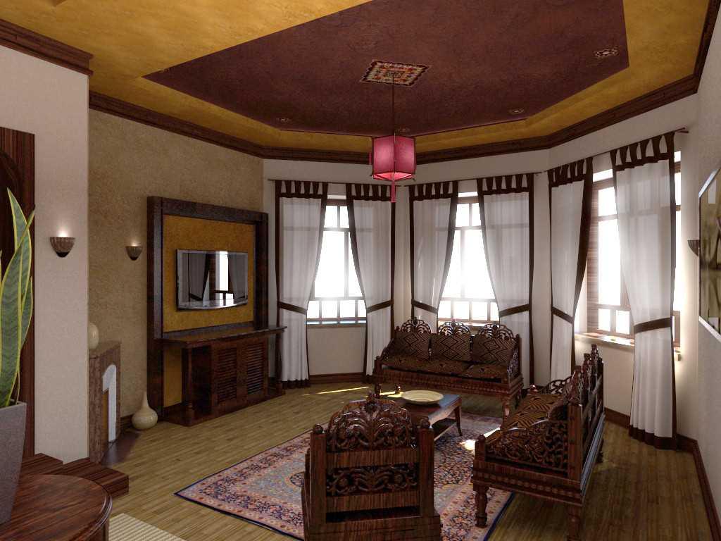 вариант красивого интерьера гостиной с эркером