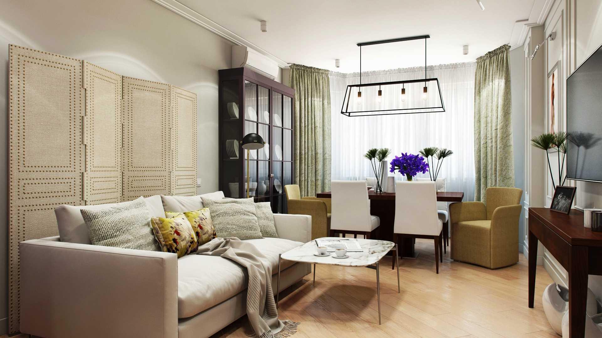 пример яркого интерьера гостиной с эркером