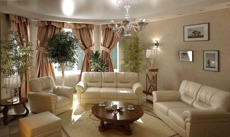 вариант необычного дизайна гостиной комнаты 17 кв.метров