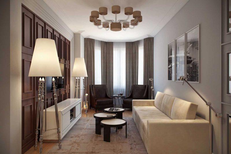 вариант светлого декора гостиной с эркером