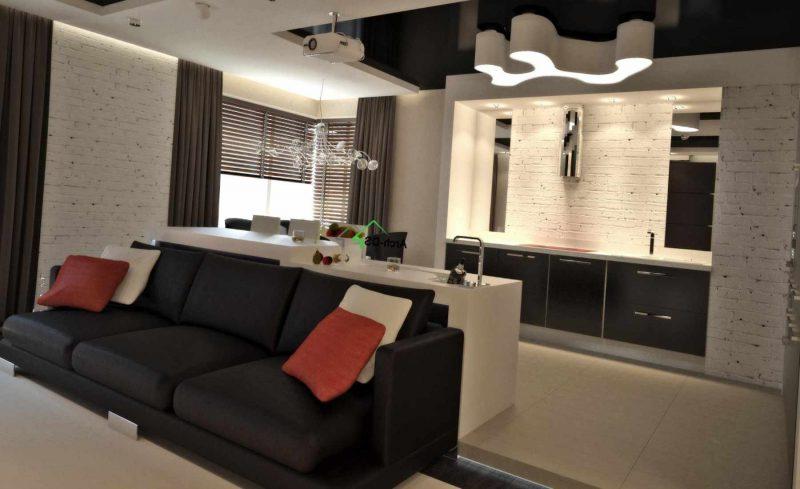 вариант яркого стиля кухни гостиной 16 кв.м