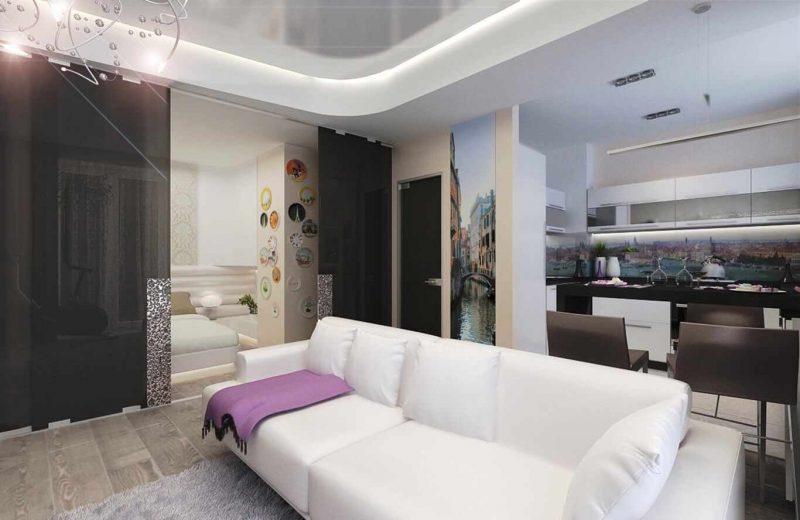 идея необычного декора кухни гостиной 16 кв.м