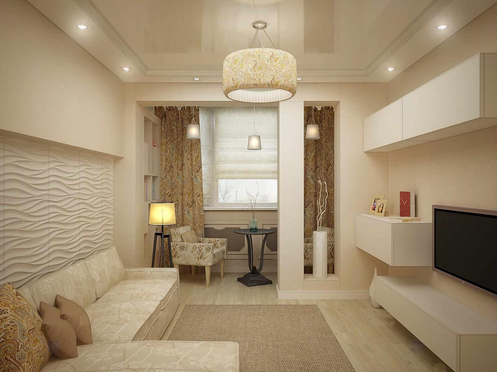 идея яркого дизайна гостиной комнаты 17 кв.м