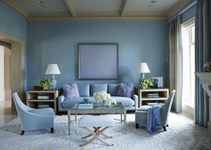 Голубая гостиная - 110 фото необычного сочетания голубых оттенков в гостиной