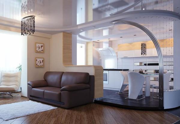 Для того чтобы арка идеально вписалась в интерьер, ее необходимо сочетать с оформлением кухни