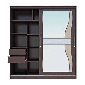 Шкаф-купе цвета венге с зеркалом и матовыми стёклами: правила выбора для гостиной и спальни