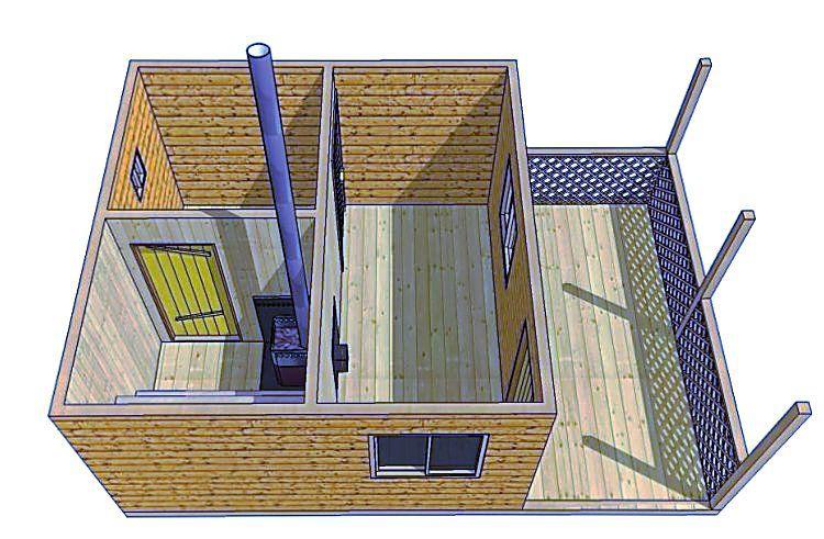 Проект бани из трех помещений