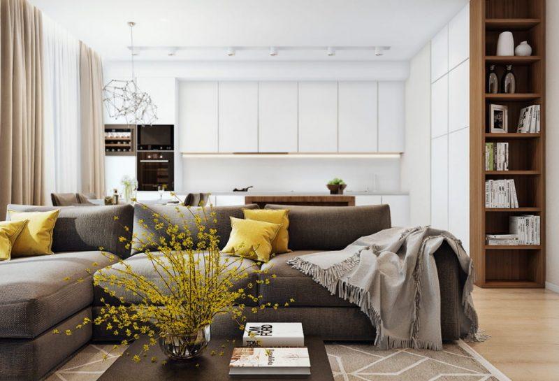Секционный диван в интерьере современной кухни-гостиной