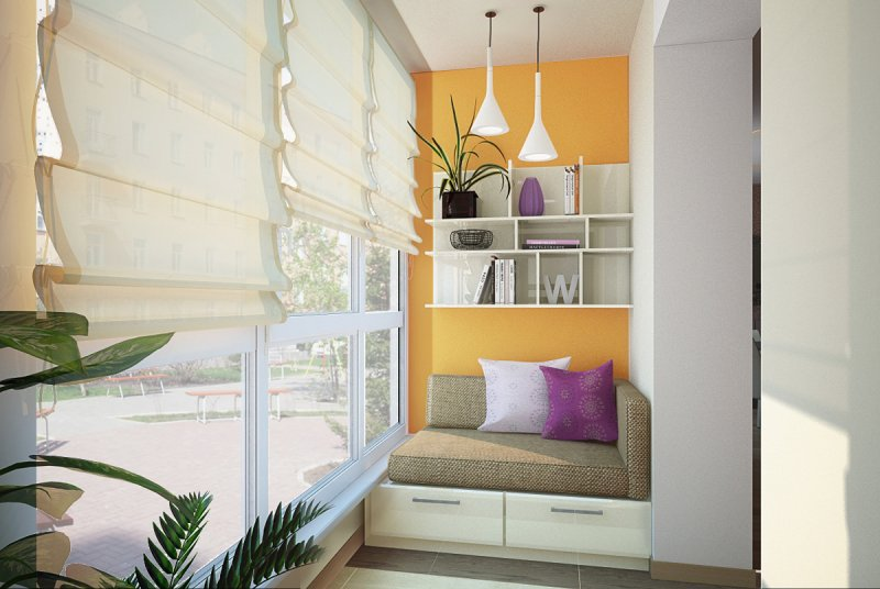 дизайн балкона с тахтой