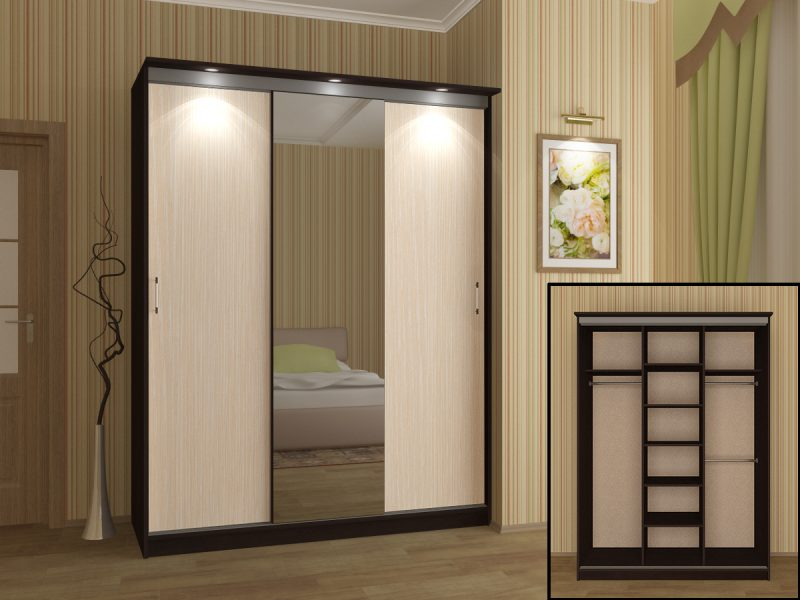 интерьер шкафа купе в спальне из дерева