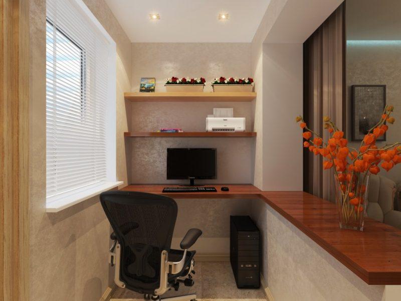 идея красивого кабинета на балконе