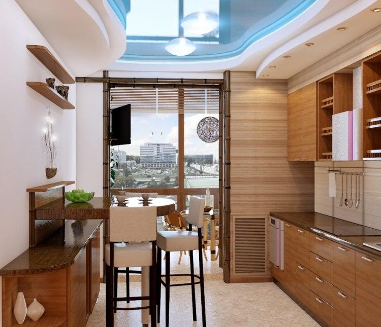 Кухня и лоджия с панорамным остеклением