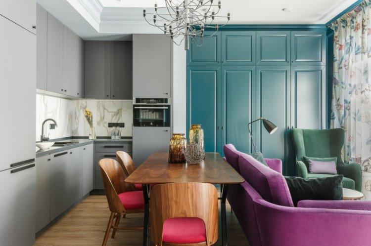 Цветовая гамма - Дизайн кухни-гостиной в современном стиле