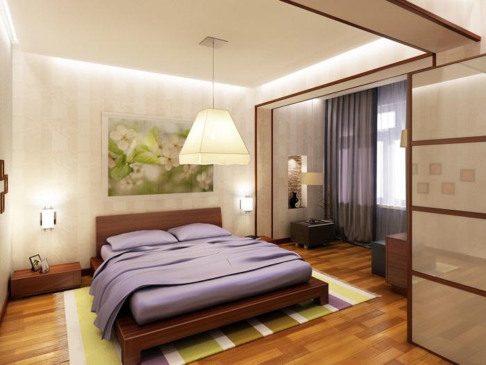 Спальня и лоджия как единое пространство.