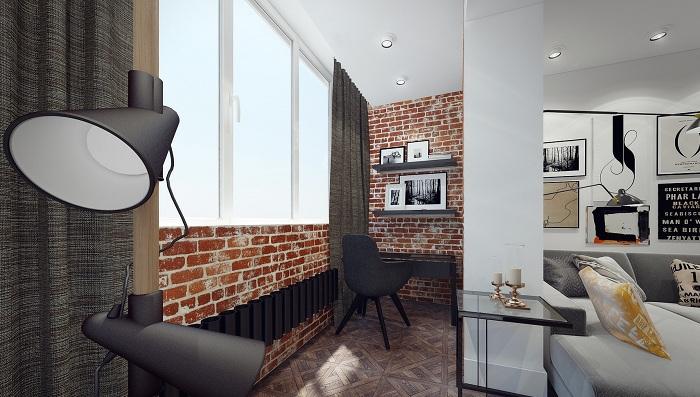 Креативное оформление лоджии, которая стала прекрасной частью комнаты.