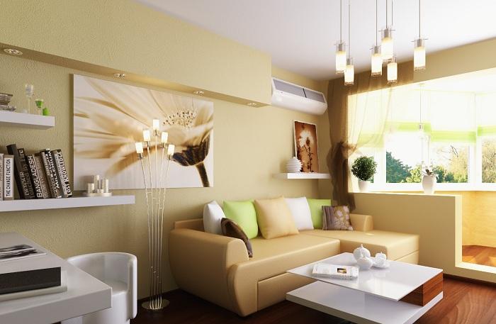 Светлая атмосфера в гостиной.