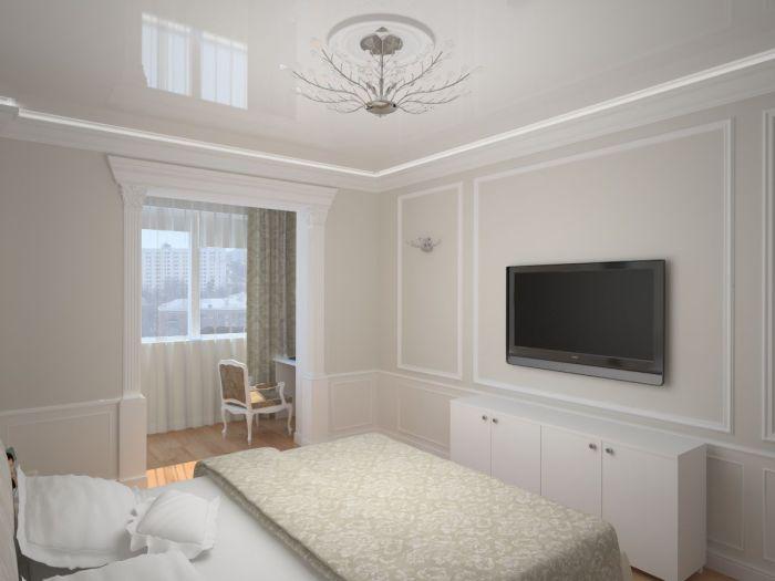 Красивая спальня в светлых тонах объединена с лоджией.