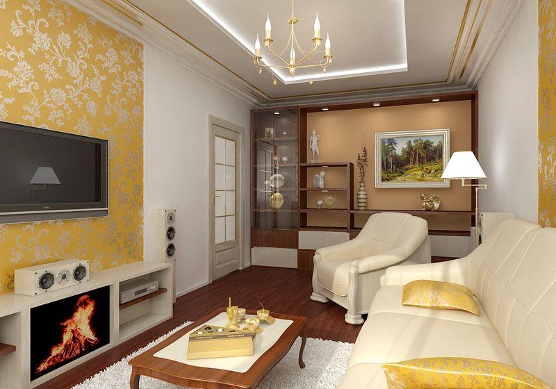 бело-жёлтый цвет в интерьере небольшой гостиной