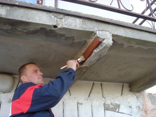 фото: ремонт балконной плиты снизу