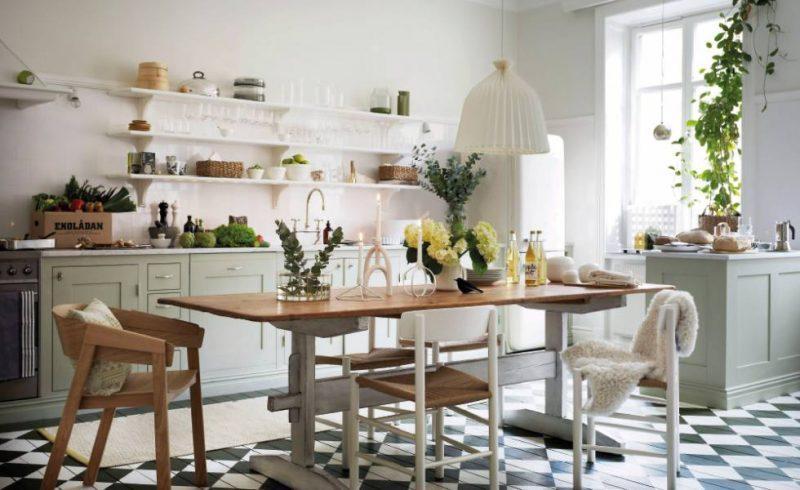 полки на кухне вместо навесных шкафов интерьер идеи