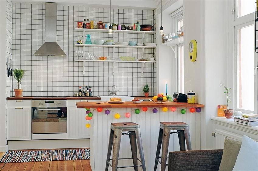 полки на кухне вместо навесных шкафов интерьер