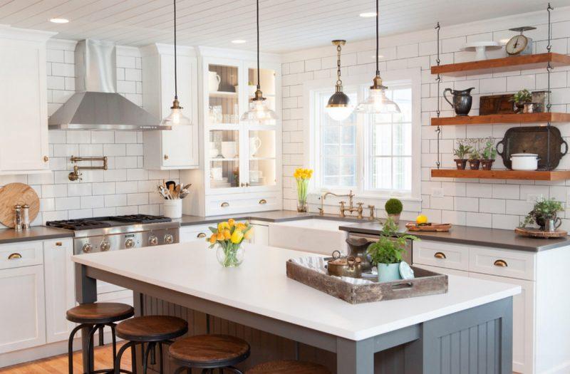 полки на кухне вместо навесных шкафов фото идеи