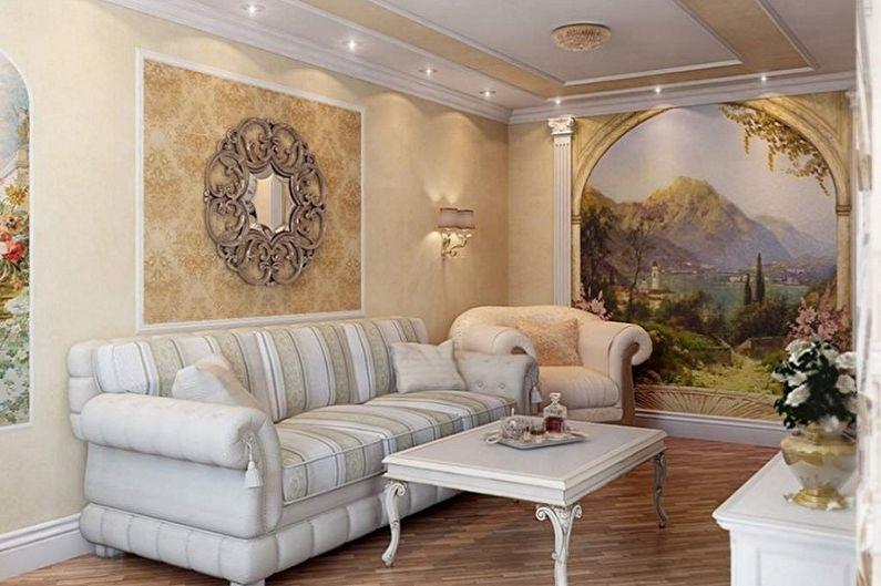 Дизайн маленькой гостиной - Отделка стен