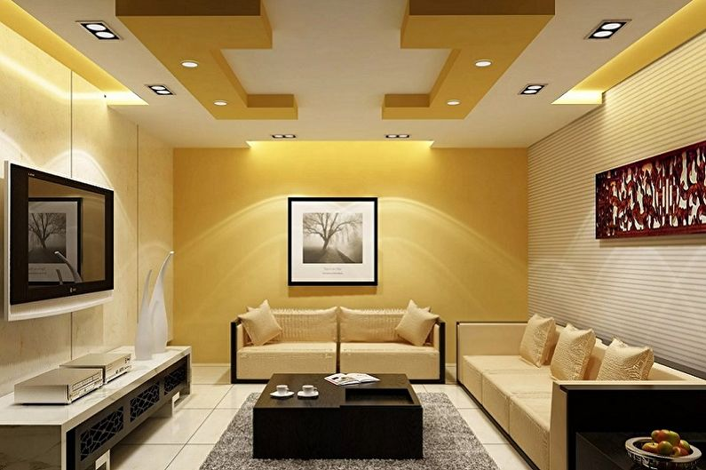 Дизайн маленькой гостиной - Отделка потолка