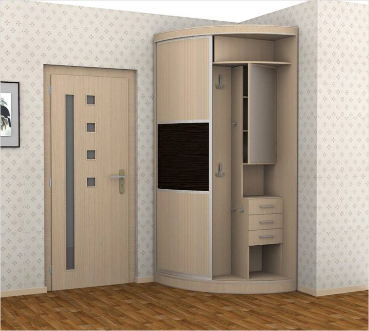 Радиусные шкафы-купе зачастую изготавливаются из МДФ