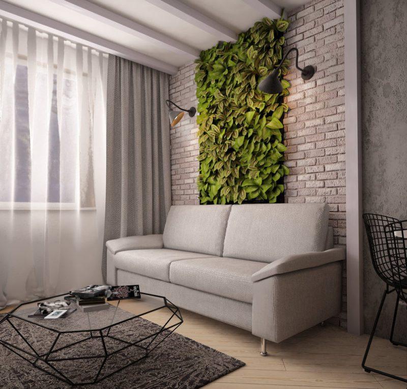 Живая стена в интерьере небольшой гостиной