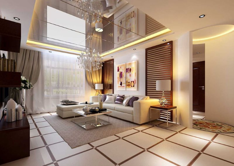 Зеркальный потолок в современной гостиной