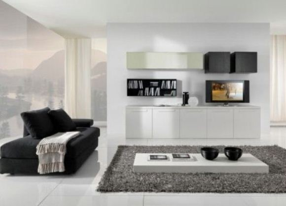 Белая мебель в гостиной комнате