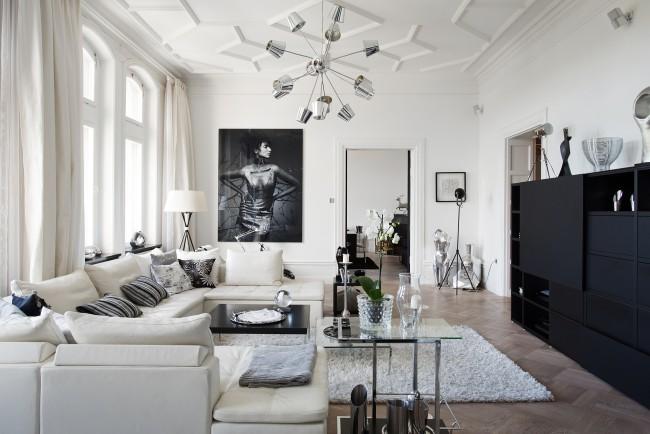 Красивая мебель для гостиной в белом цвете