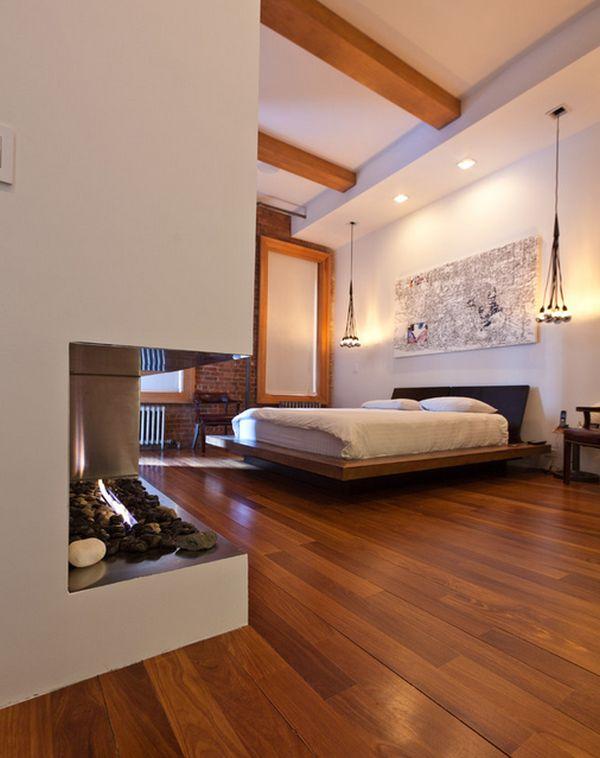 Умопомрачительное оформление спальни с камином