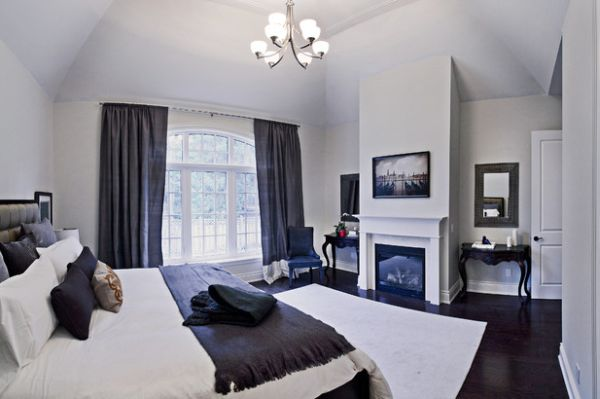 Эксклюзивное оформление спальни с камином