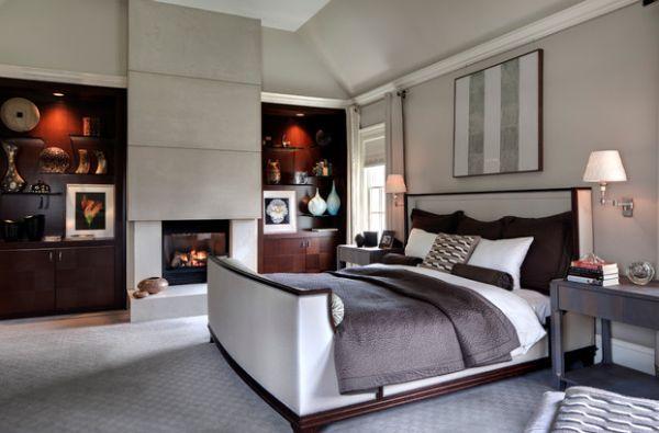 Дивное оформление спальни с камином