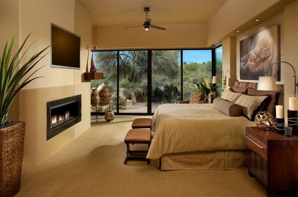 Сногсшибательное оформление спальни с камином