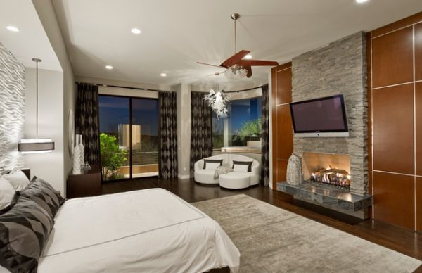 Креативное оформление спальни с камином