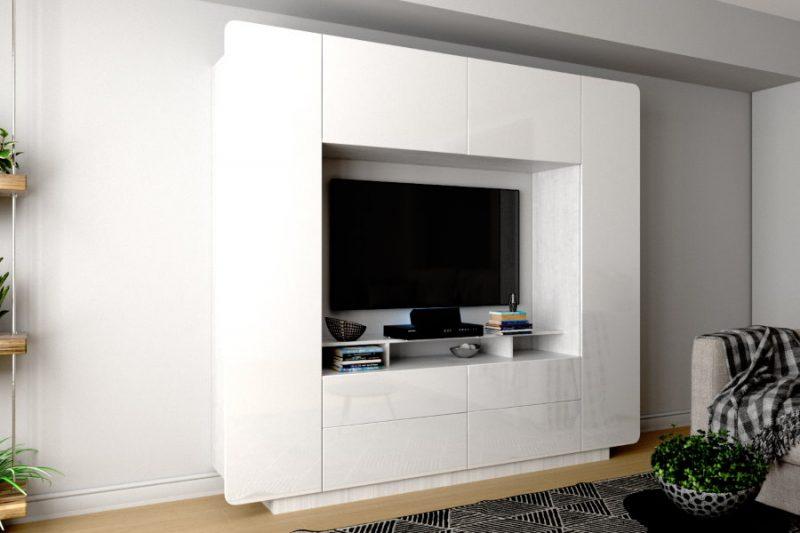 Место для телевизора в светлой гостиной