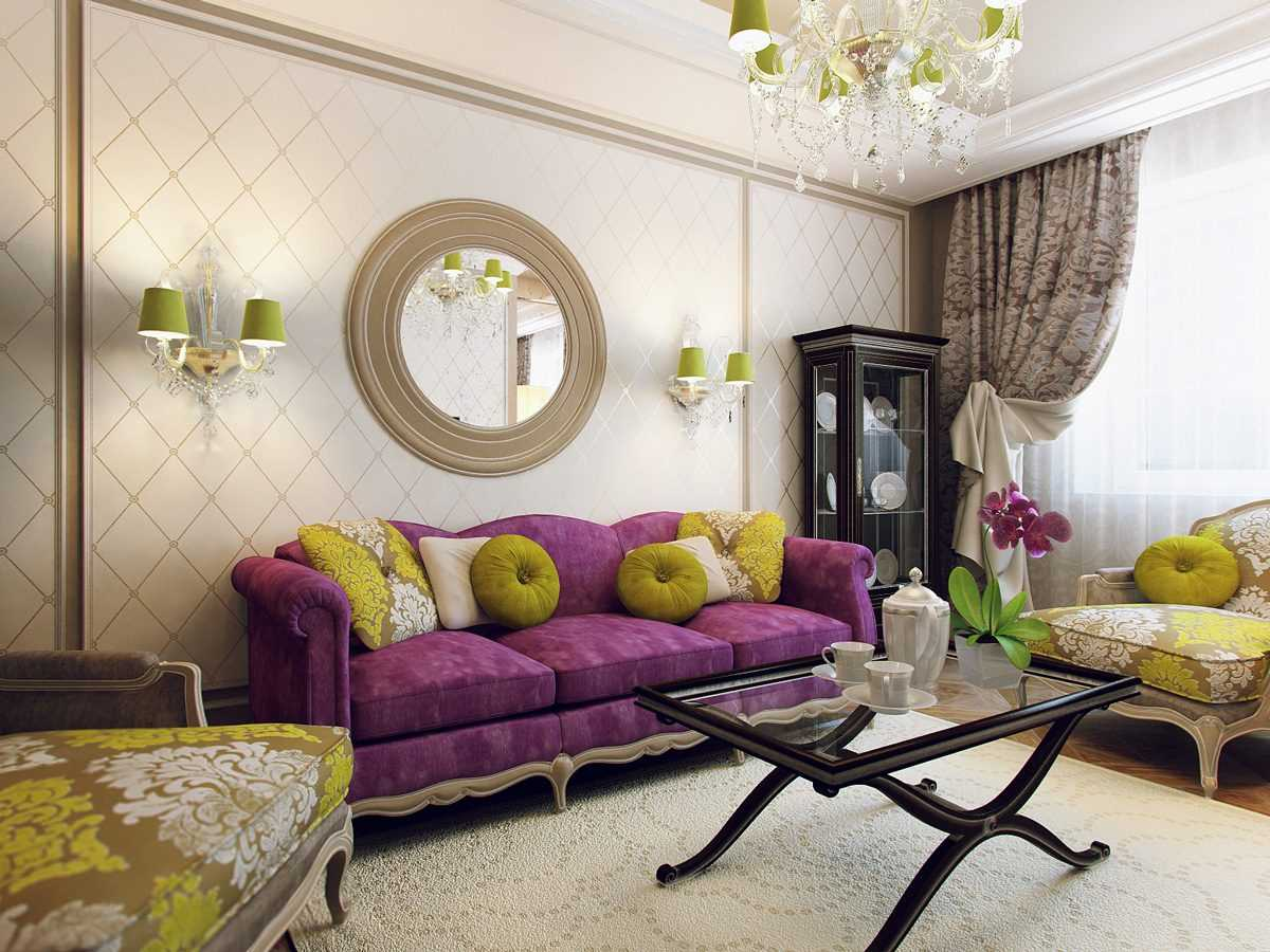 вариант яркого декорирования гостиной комнаты своими руками