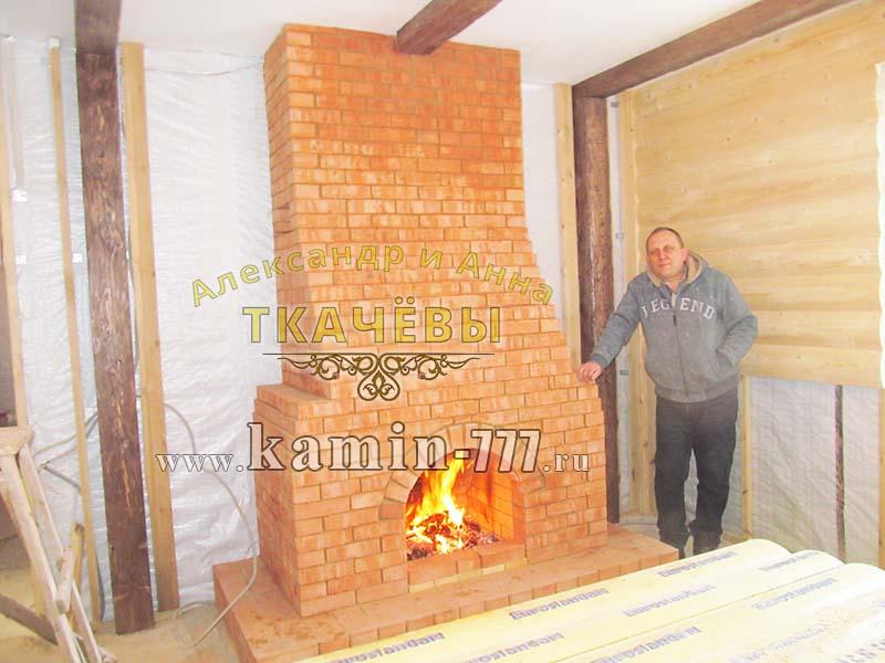 Черновая кладка открытого камина из кирпича для дома и дачи