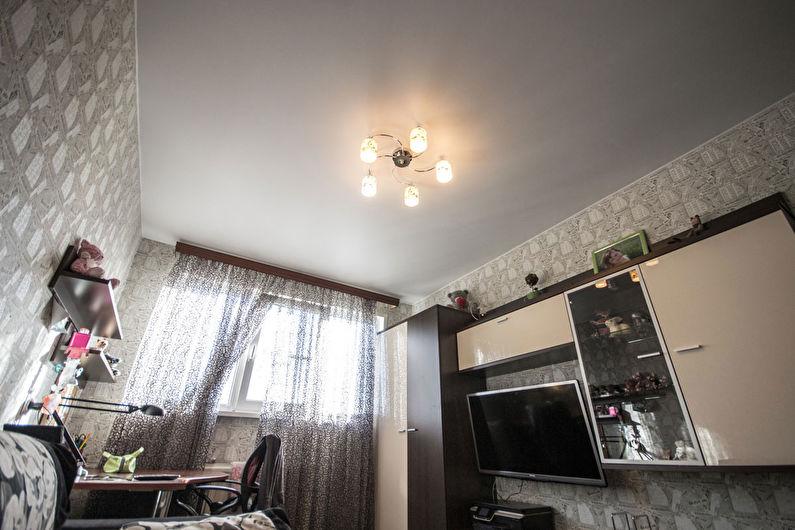Сатиновый натяжной потолок в интерьере детской комнаты