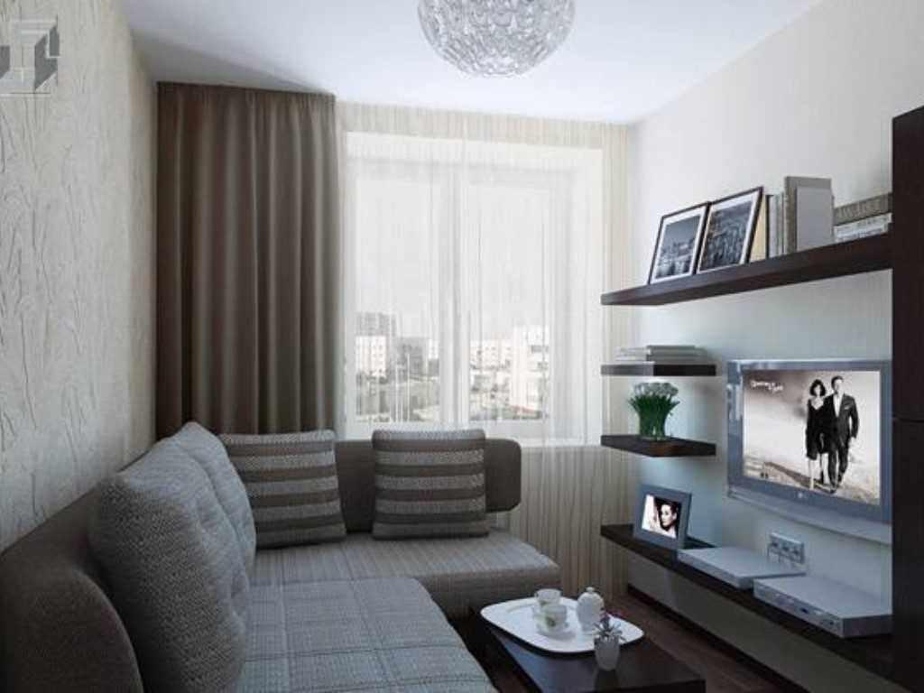 вариант светлого декора гостиной комнаты 17 кв.м